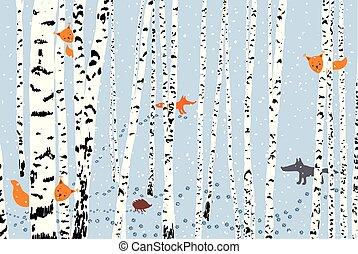animaux sauvages, dans, a, hiver, forêt
