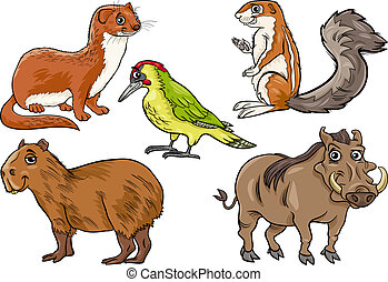 animaux sauvages, ensemble, dessin animé, illustration