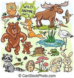 animaux sauvages, main, dessiné, collection, partie, 1.