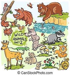 animaux sauvages, main, dessiné, collection, partie, 2.