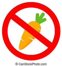 animaux, signe, carottes, pas, alimentation, non
