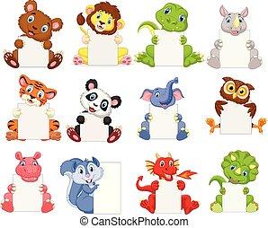 animaux, signe, tenue, vide, sauvage, dessin animé