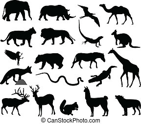 animaux, silhouettes