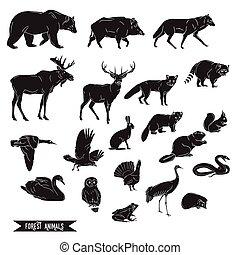 animaux, vintage., isolé, illustration, silhouettes, vecteur, forêt, art, ligne