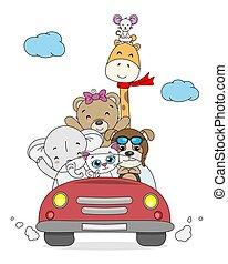 animaux, voiture, rigolote, dessin animé, intérieur