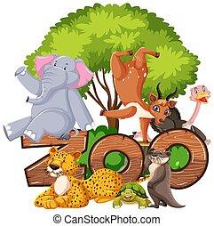 animaux, zoo, groupe, signe, sous, arbre