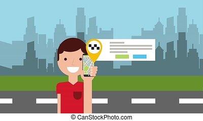 animazione, carattere, con, mobile, tassì, app, e