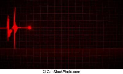 animazione, cuore rosso, monitor, di, uno, uomo amore