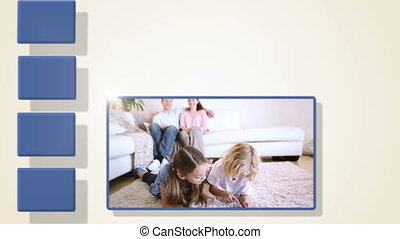 animazione, di, famiglia, videi