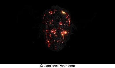 animazione, fuoco, uno, fumo, cranio, con, un, canale alfa