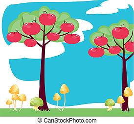 anime, árvore, com, maçã