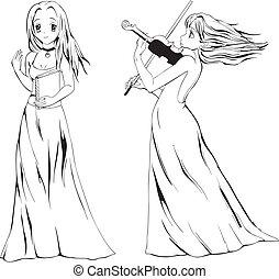 anime, 女孩, 由于, 書, 以及, 小提琴