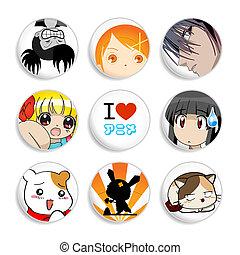 anime, 徽章, |, 集合, 2