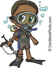 anime, 水下呼吸器潛水員, 男孩, 矢量