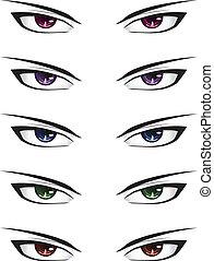 anime, 男性, 眼睛
