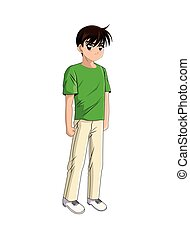 anime, 風格, 男孩, 圖象