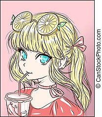 Anime blonde girl with orange lemon-lime sunglasses on her head illustration. Kawaii pink kid holding a glass of lemonade tea drinking from a straw. Refreshment citrus juice in a frozen cup of water