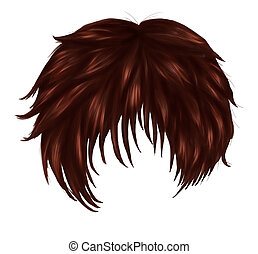Anime brown hair - Short woman hair of brown color in anime,...