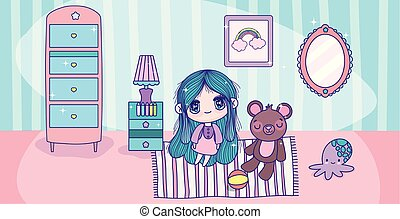 anime cute girl with teddy toys in the room