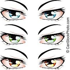 anime, estilo, olhos