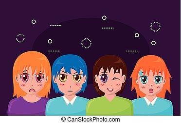 anime girl group manga comic