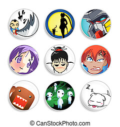 anime, kentekens, |, set, 1