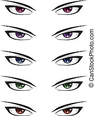 Anime male eyes - Manga style male eyes of different colors...