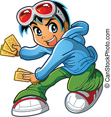 Anime Manga Boy Playing Card Game - Anime Manga Boy Playing...