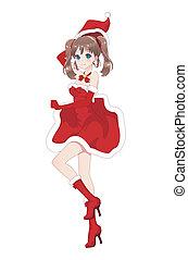 Anime manga girl dressed in Santa Claus costume
