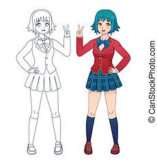 Anime manga girl. Japanese comics cute school girls in uniform for coloring book page. Cartoon character full body vector outline for kids