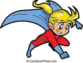 anime, manga, niña, superhero