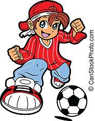 Anime Manga Soccer Player - Happy Young Man Boy Soccer...