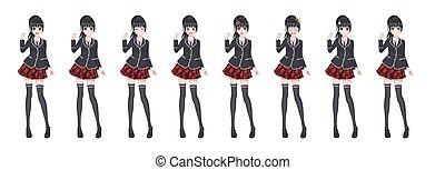 Anime manga student girl in blazer and red skirt