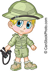 Anime Safari Boy Vector Cartoon - Vector cartoon clip art of...