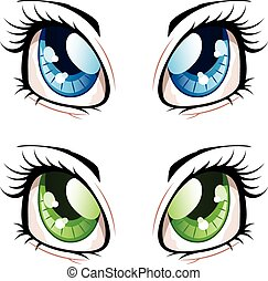 Anime Style Eyes - Set of manga, anime style eyes of...
