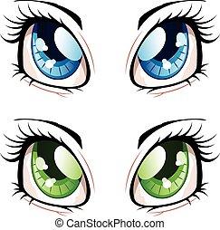 Anime Style Eyes - Set of manga, anime style eyes of...