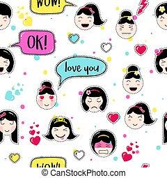 Anime style seamless pattern with cute emoji girls