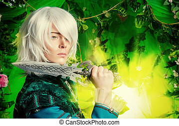 anime style - Beautiful blond elf with a dagger in his hand...