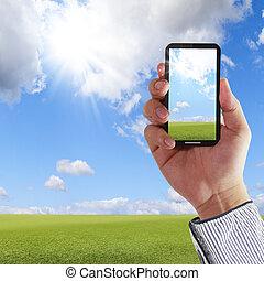 aning skärma, ringa, mobil