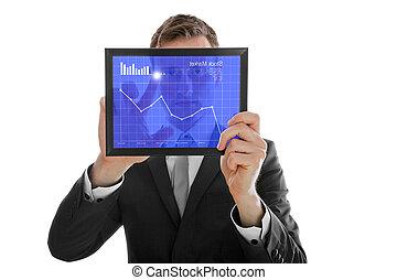 aningar, marknaden, pc, kontroll, avskärma, isolerat, en, touchpad, finger, holdingen, affärsman, vit, block
