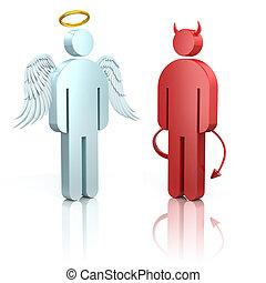 anioł, łopatka, diabeł