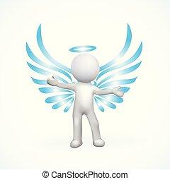 anioł, 3d, człowiek