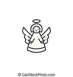 anioł, linearny, ikona, concept., anioł, kreska, wektor, znak, symbol, illustration.