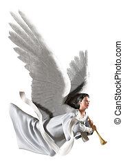 anioł, na białym