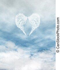 anioł uskrzydla, w, pochmurny, błękitne niebo