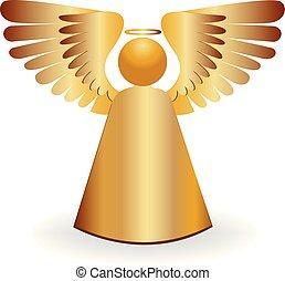 anioł, złoty, ikona, logo