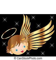 anioł, z, złoty uskrzydla