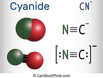 anion, molecule., molécule, chimique, cyanide, formule, modèle, structural