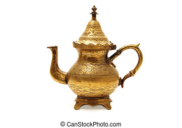 teapot - anique golden teapot isolated on a white background