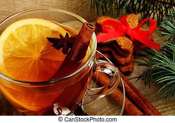 anis, laranja, tee, natal, durante